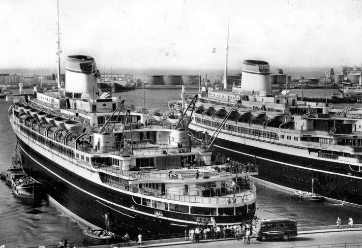 Italian Line CRISTOFORO COLOMBO and ANDREA DORIA at Genoa