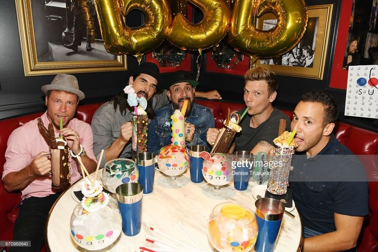 Singers Brian Littrell, Kevin Richardson, AJ McLean, Nick Carter and Howie Dorough of the Backstreet Boys attend the grand opening of Sugar Factory American Brasserie at the Fashion Show mall on April 20, 2017 in Las Vegas, Nevada.