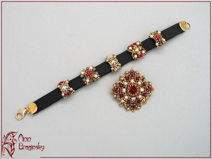 Red and brown leather bracelet. Anna Braginskaya - Beaded Jewelry