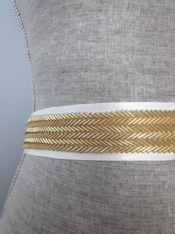 Gold Chevron Herringbone Beaded wedding sash / by allforLOVEbyGina, $65.00