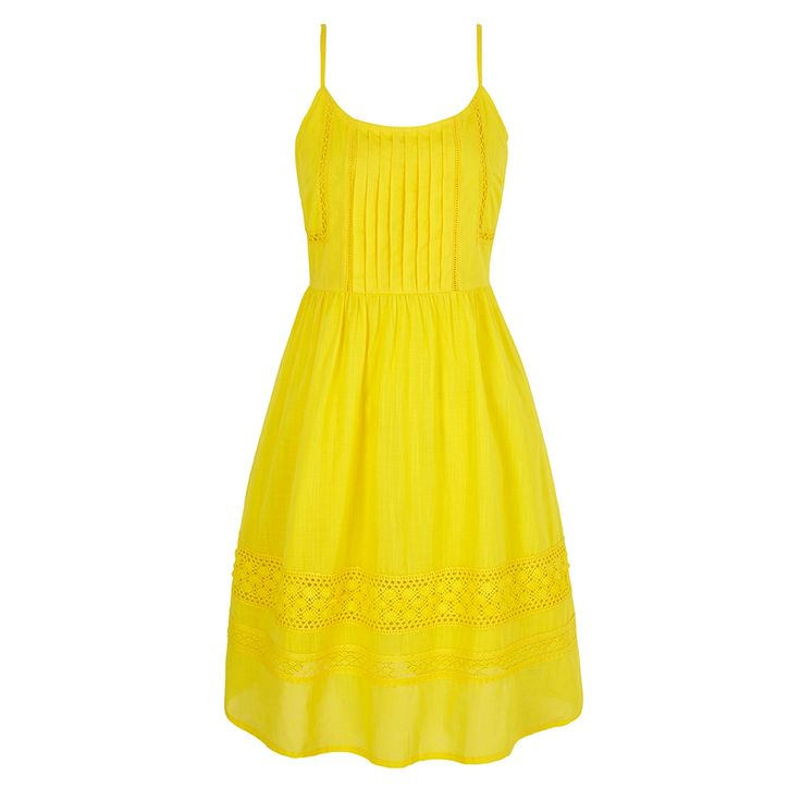 Yumi Cotton Crochet Summer Dress. Available in blue and yellow, this 100% cotton strappy dress features a crochet panels, pleated detailing at the front, spaghetti straps and a concealed back zip.