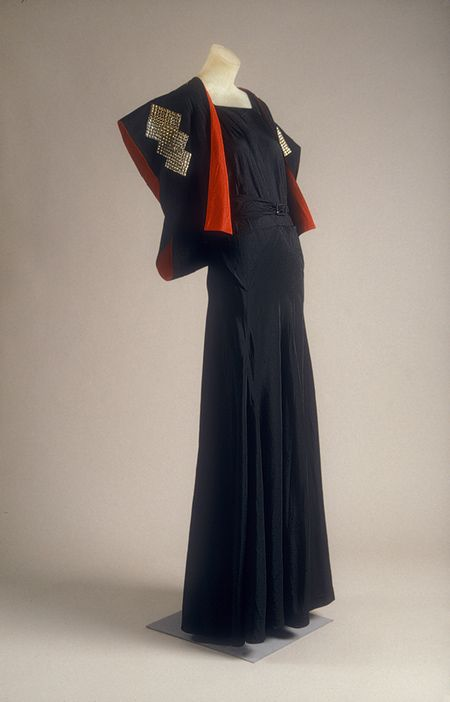 Evening ensemble, ca. 1934  Jeanne Lanvin (French, 1867–1946)  Black silk taffeta with metal plaques