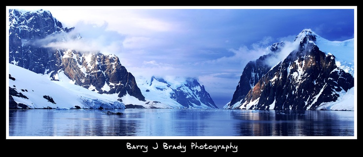Lemaire Channel, breathtaking gap in the mountains in Antarctica