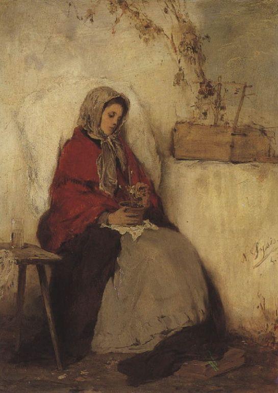 .:. Γύζης Νικόλαος – Gyzis Nikolaos [1842-1901] Μεγαρίτισσα, κορίτσι με γλάστρα