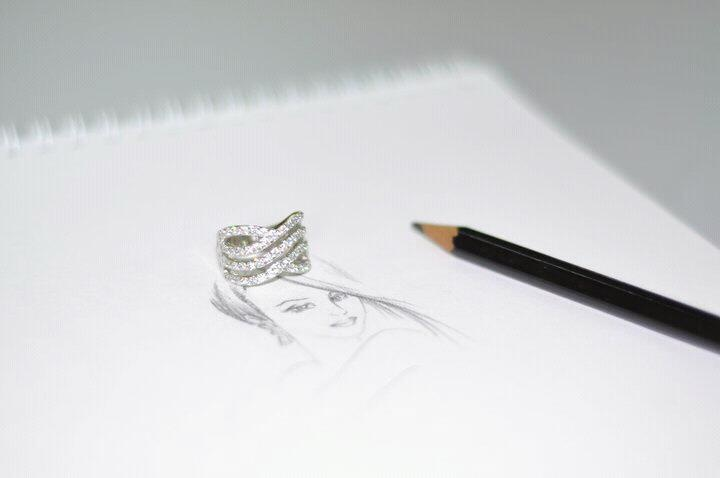 Rhodium plated and Zircon stones ring