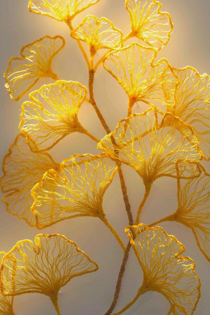Little Ginkgo studies: Embroidered artwork by Meredith Woolnough: