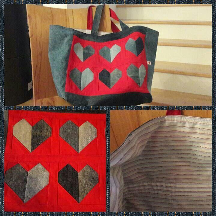 Einkaufstasche: upcycling Projekt aus Jeans und Herrenhemd, Vorlage Patchwork Herzen von Missouri Star Quilt Company