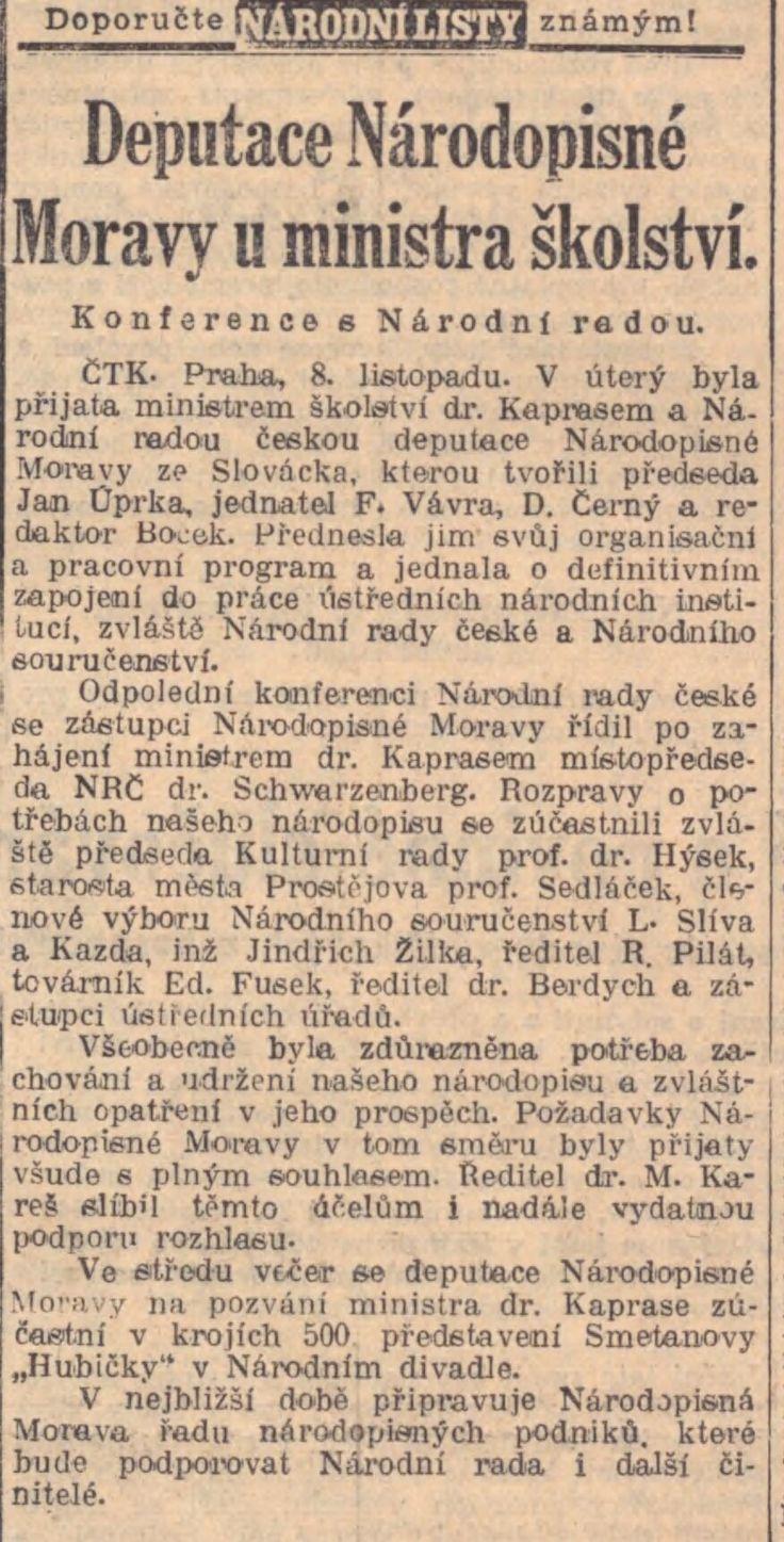 Národní listy, 9.11.1939