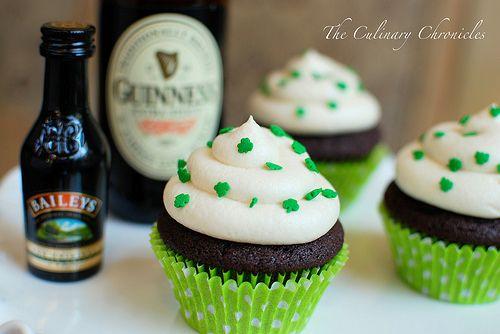 Chocolate Stout Cupcakes with Irish Cream Buttercream: Irish Cream, Baileys, Chocolates, Chocolate Cupcakes, Stout Cupcakes, Cupcake Recipe, Patricks