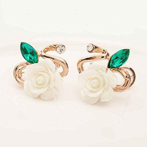 Femmes élégant strass cristal Fleur rose Boucles d/'oreilles Luxe Charme Stud Earring