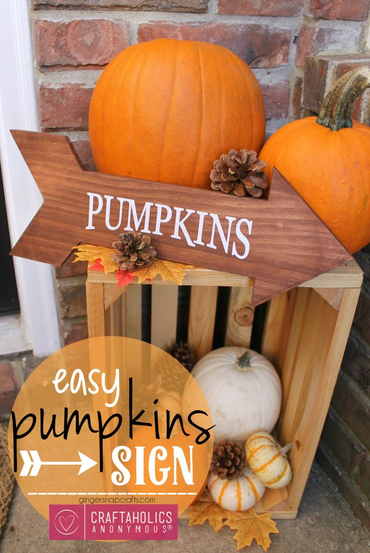 DIY Fall Pumpkins sign tutorial on www.craftaholicsanonymous.net. Love this idea for fall porch decor!
