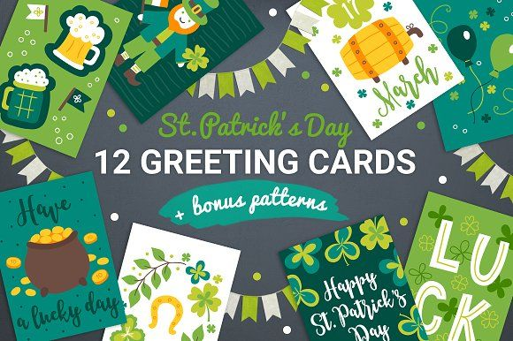 12 Patrick Cards + Bonus Patterns by miumiu on @creativemarket