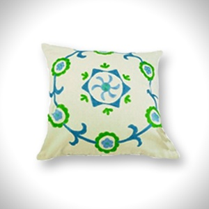 "Cotton Cushion Cover (16"" x 16"")   Teal & Green Chain Stitch   MRP- Rs. 499"