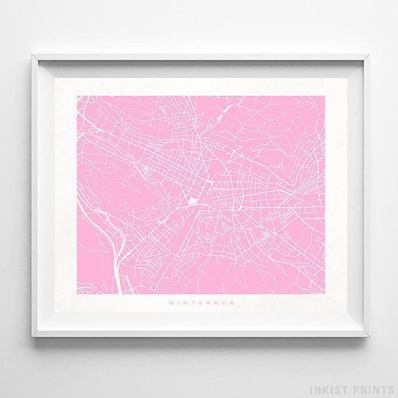 Winterthur, Switzerland Street Map Wall Art Poster - 70 Color Options - Prices from $9.95 - Click Photo for Details - #streetmap #map #homedecor #wallart #Winterthur #Switzerland
