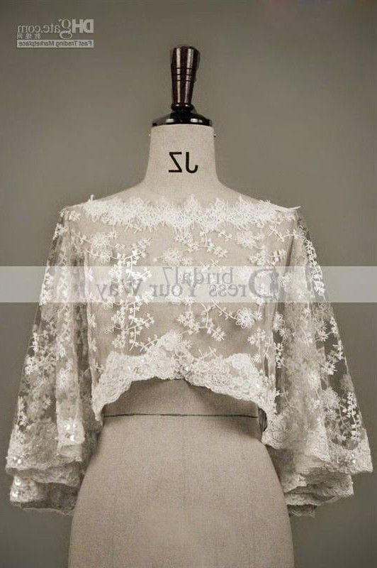 buy wholesale - Delicate Wedding Shawl Lace Edged Boat Neck Wedding Bridal Dresses Accessary Capes Mantles Capelets