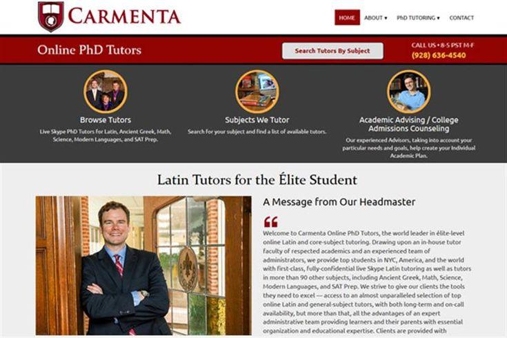 Carmenta Online PhD Tutors Σχεδιασμός της Ιστοσελίδας με Responsive Web Design για την Carmenta Online PhD Tutors. Η ιστοσελίδα latintutors.net είναι για ιδιαίτερα μαθήματα όπως Αρχαία, Λατινικά, Μαθηματικά, Επιστήμες, Μοντέρνες γλώσσες και άλλα πολλά μαθήματα.