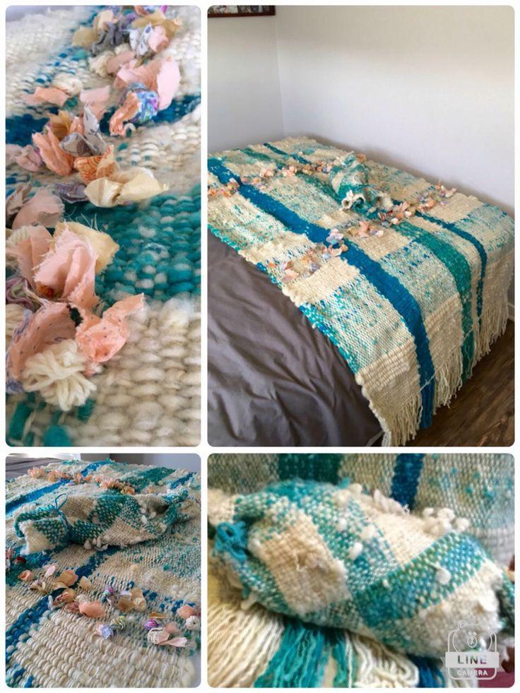 Pie de cama en telar María con lanas y flores. CLP 180.000 en Tilonka Lanas