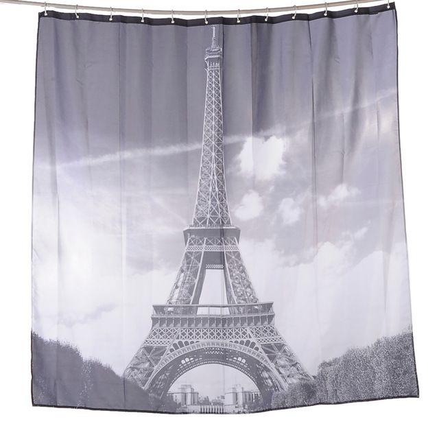 180*180cm Aestheticism Maple Paris Tower Printing Waterproof Bathroom Shower Curtain Block With 12 Hooks