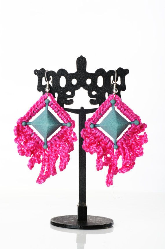 Large Crochet Boho Dangle Earrings, Bright Pink and Turquoise, Unique Designs, Contemporary Lightweight, Variations Available, Hippy, Dangle