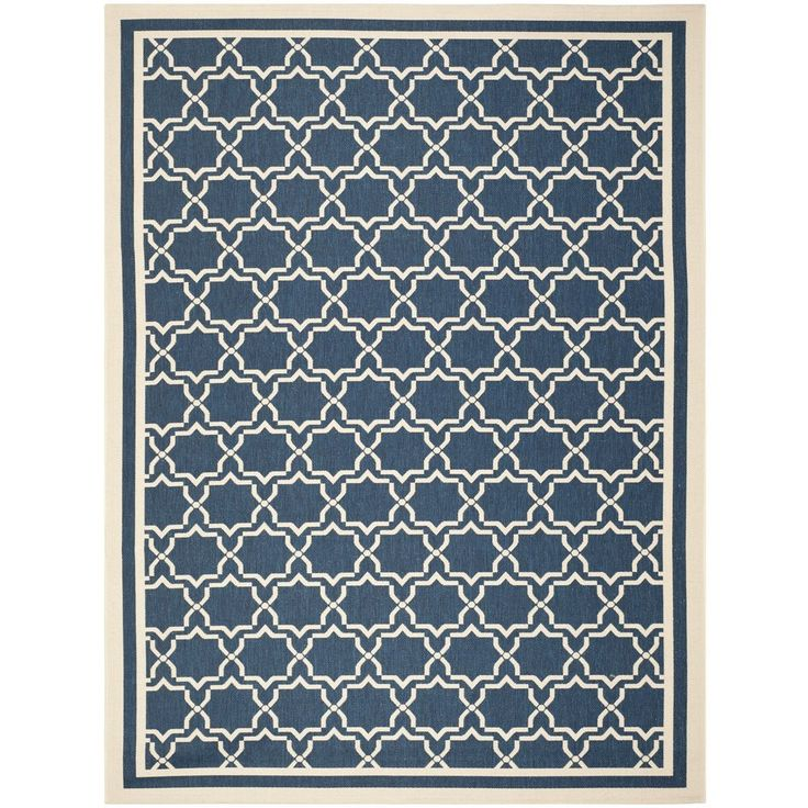 Safavieh Indoor/ Outdoor Courtyard Navy/ Beige Area Rug (8' x 11') #Safavieh #Contemporary