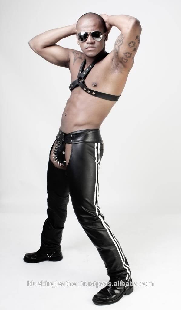 Gay guy in leather chaps