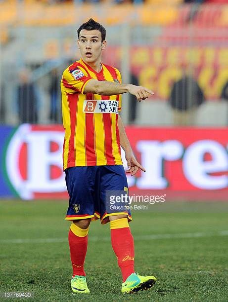 Cristian Pasquato of Lecce in action during the Serie A match between US Lecce and AC Chievo Verona at Stadio Via del Mare on January 22 2012 in...