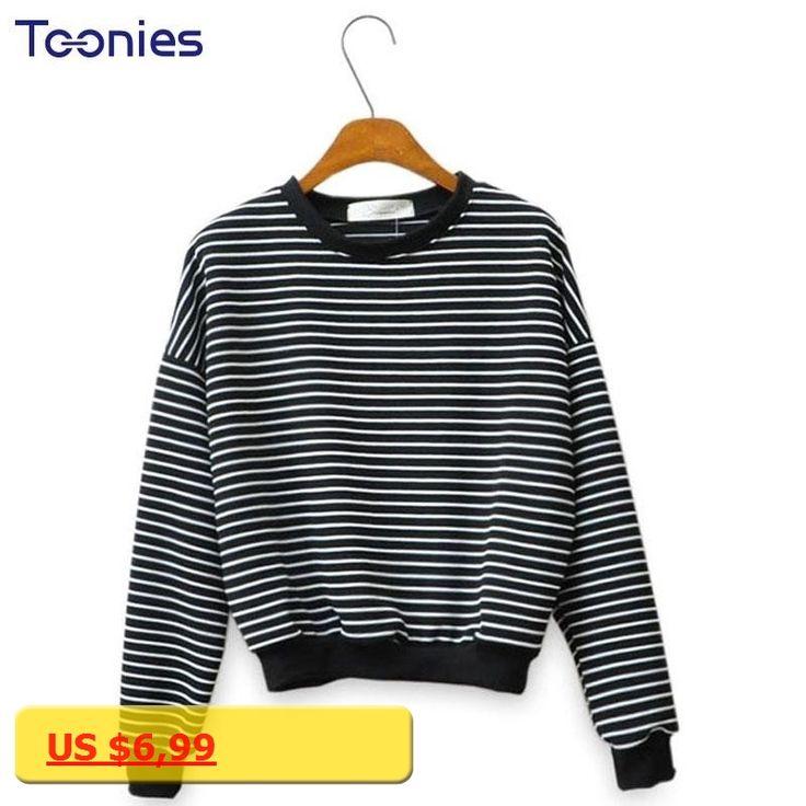 Women Crop Tops Casual Sweatshirt Striped Harajuku Style Sexy Hoodies Pullovers Cropped Top Streetwear Cotton Hoodie Autumn 2017