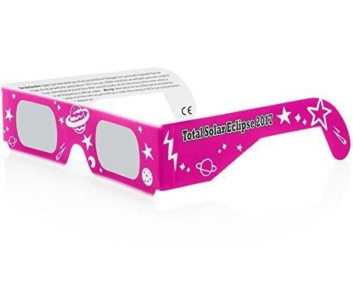 Solar Eclipse Glasses CE and ISO Certified - Safe Solar Viewing - Viewer and Filter - Made in USA - Neon Pink (3 Pack)