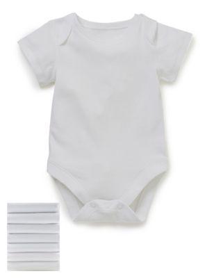 M&S 7 Pack Pure Cotton Short Sleeve Bodysuit