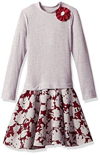 5b7f8a3ca874 Bonnie Jean Big Girls' Long Sleeve Sweater to Skirt Dress, Grey/Burgundy,  12. Rib ridicule neck drop abdomen sweater dress. Floral