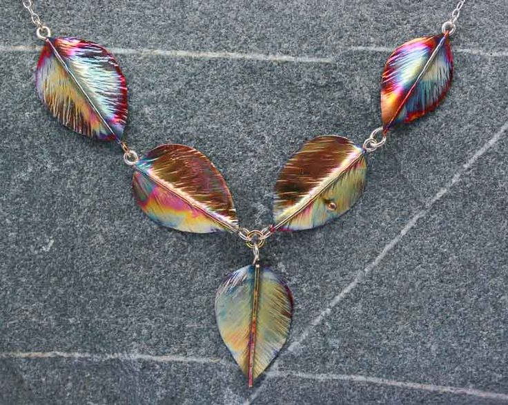 Silver and copper five leaf necklace