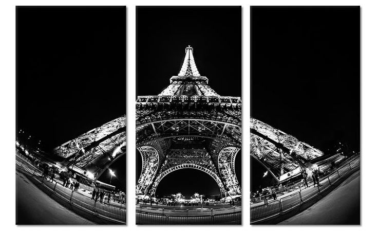 Zwart Wit Foto Schilderij Eiffeltoren op canvas (drieluik)