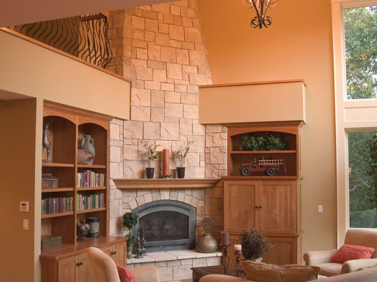 Corner fireplace and built in shelves for the home for Corner fireplace plans