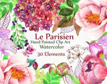 Peonies Watercolor Flowers Clipart. Hand painted by ReachDreams