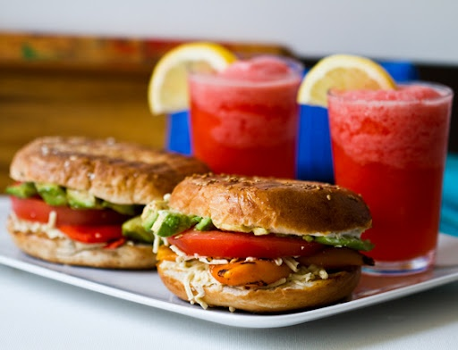 Peppers and Cheese Bagel-wichVegan Snacks, Bagels Wich Vegan, Gluten Free Meals, Roasted Peppers, Vegan Bagels Wich Lunches, Summer Dinner, Summer Lunches, Bagels Sandwiches, Vegan Lunches