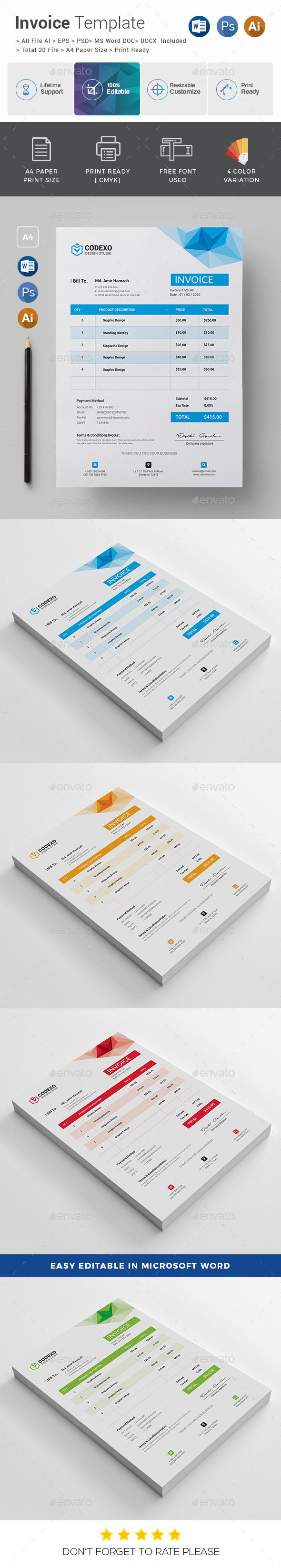 Invoice      4 Color Versions     A4 Paper Size With Bleeds     Quick and easy to customize templates     Change Customize easily in MS WORD, PSD & Illustrator     Professional and clean structured files