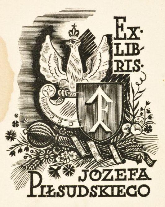 EX LIBRIS prywatny Marszałka Józefa Piłsudskiego z 1934 roku. Drzeworyt, autorstwa Stanisława Ostoi-Chrostowskiego (1897-1947).