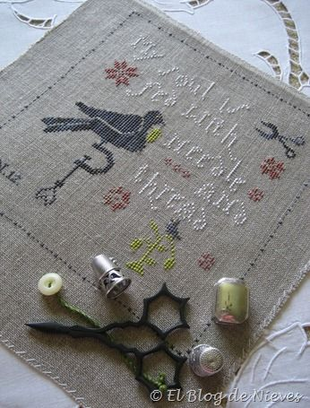 """Love the saying, """"My soul is fed with needle and thread"""". This is a With Thy Needle and Thread (Storm Lake Iowa designer!) chart: A Stitcher's Purse."""