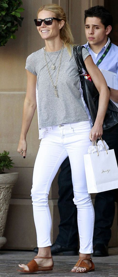 Necklace stacking   white jeans   brown sandals   simple gray T