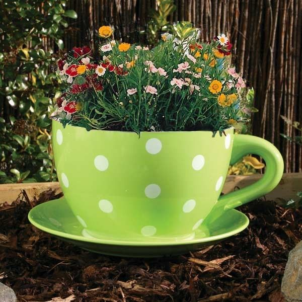 Buy Giant Ceramic Tea Cup and Saucer Planter: Floral Rose at