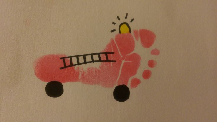 Fire Safety Week Art Activity for Toddlers/Infants! Make your own Fire Truck with their foot print!