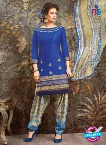 SC 13844 Blue Glace Cotton Designer Fancy Exclusive Patiala Suit