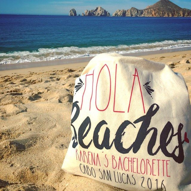 We spy our adorable HOLA BEACHES bachelorette tote chilling by the beach in Cabo San Lucas! Don't forget to grab yours for you and your ladies!!