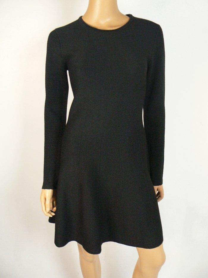 195 Dkny Black Long Sleeve Warm Knit Fit Flare Sweater Dress S 4