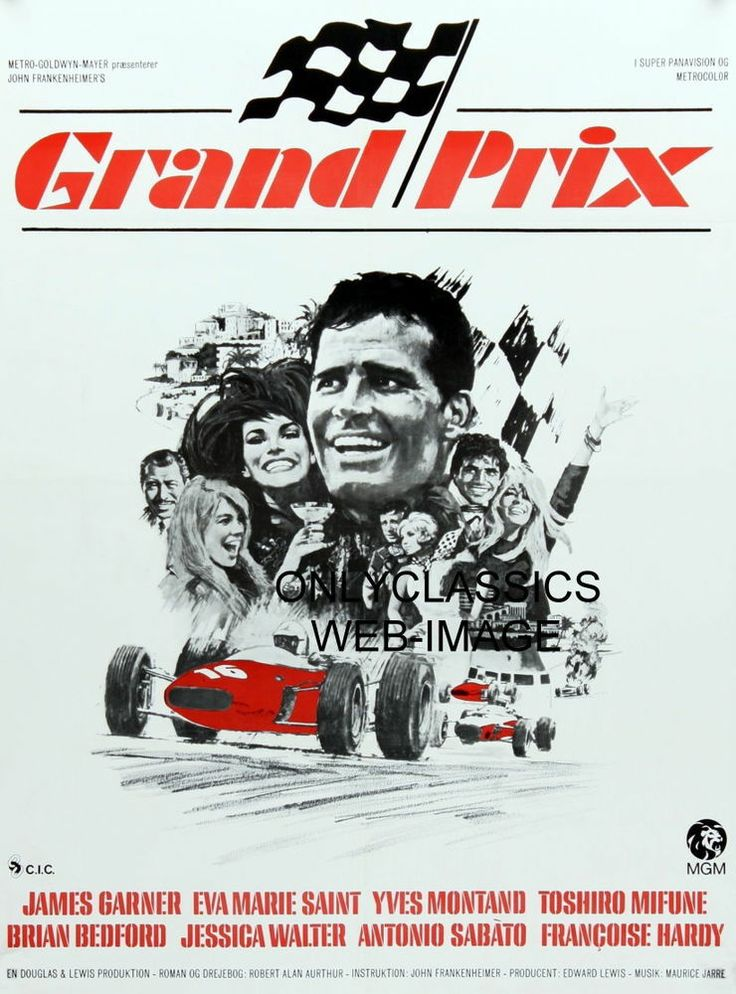 1966 DANISH MGM GRAND PRIX AUTO RACING MOVIE POSTER FORMULA ONE GREAT GRAPHICS#1