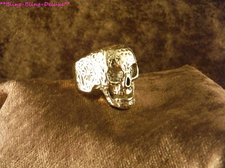 Biker Ring Schädel 24 Karat Vergoldet Rocker Punk Skull Edelstahl Gold
