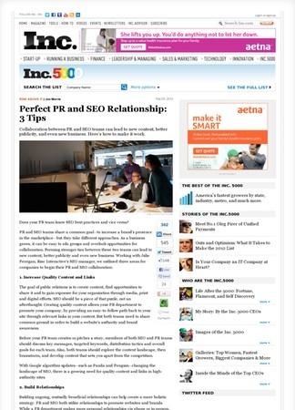 Perfect PR and SEO Relationship: 3 Tips | Inc.com - Rise Interactive