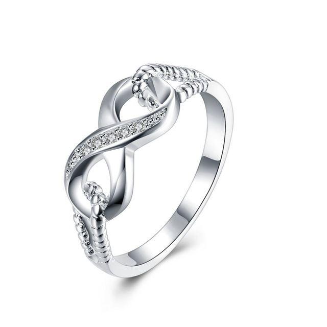Beste Vriend Gift Hoge Kwaliteit plated 925 Sterling Zilver Infinity Ring Endless Love Symbol Wholesale Fashion Ringen Voor Vrouwen