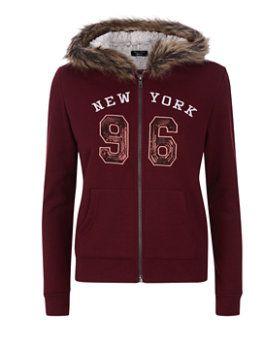 Teens Burgundy New York 96 Print Sequin Zip Up Hoodie  | New Look