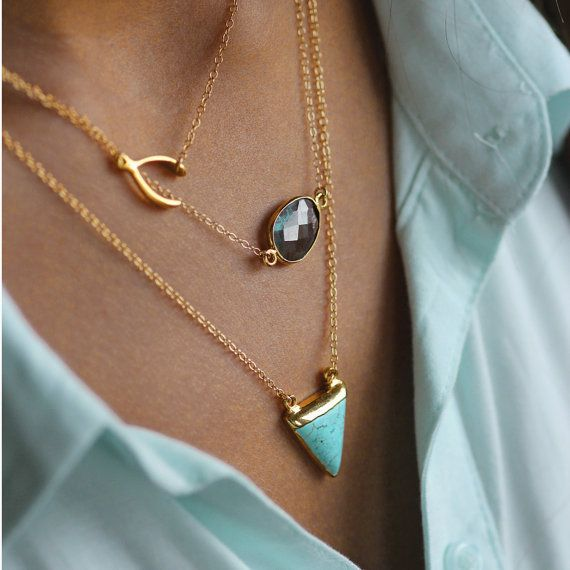 Absolutely love this. Wishbone. Aqua. So Fashion forward. These gold necklaces are amaze. PURE 14k necklace with labradorite by koshikira on Etsy